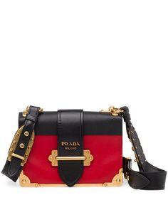 Cahier+Notebook+Shoulder+Bag,+Red/Black+(Fuoco/Nero)+by+Prada+at+Neiman+Marcus.