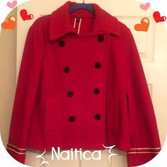 NWOT. Nautica Pea Coat Beautiful red Nautical Pea Coat with white accent stripes and anchor buttons. Double breasted. Wool blend. Nautica Jackets & Coats Pea Coats