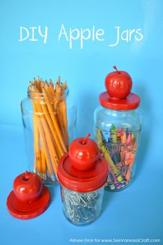 DIY Apple Jars #backtoschool via www.seevanessacraft.com