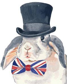 Rabbit Watercolor Print, Flop Eared Rabbit, Top Hat, Bow Tie, 8x10 Painting Print. $15.00, via Etsy.