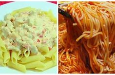 Pasta or spaghetti for dinner is a simple solution to the question of what to cook in a few minutes. Variety of such a dish can be savory, but at the same time easy to prepare sauces. Romanian Food, Kefir, What To Cook, Ketchup, Penne, Pasta Recipes, Cabbage, Bacon, Easy Meals