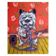 Cairn Terrier Playing Guitar Dog Art print by lulunjay on Etsy, $17.99