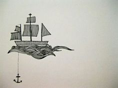 Anchor ship tattoo! Love this!!! But different waves, maybe?