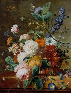 Painting Title: Basket of Flowers with Butterflies, undated Artist: Jan van Huysum (1682-1749) Location: Louvre Museum Paris France Original Size:53 x 41 cm  Painting Reproduction completely hand-painted with oil on blank linen canvas. Painting Reproduction 16373 at TOPofART.com.