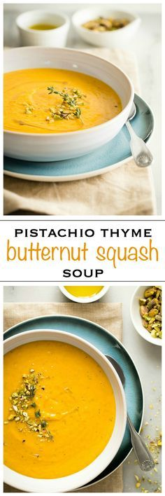 The most delicious butternut squash soup i have ever tasted. Rich and creamy and made with bacon, topped with crushed pistachio nuts this is perfect for Thanksgiving - Foodness Gracious #fall #soup #thanksgiving