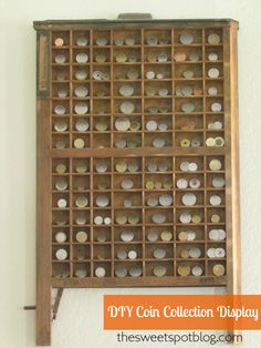 coin collection displayed in antique typeset drawer Coin Crafts, Diy And Crafts, Coin Display, Coin Art, Show Me The Money, Old Coins, Displaying Collections, Coin Collecting, Shadow Box