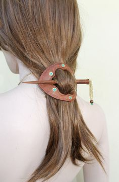 Vintage Style Brown  Leather  Barrette  and Wooden Stick, Turquoise Swarovski Crystals via Etsy