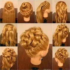 """How to DIY Elegant Hairstyle With Braids and Curls! An elegant hairstyle, which combines braids and curls to make a gorgeous look! It looks like a high bun, but actually the """"bun"""" is made from curls. It's a good idea to add some pretty flower or beaded hair clips to enhance the overall beauty of this hairstyle. Perfect for wedding, evening party, prom and any other special events. #elegantweddinghairstyle #hairforalloccasions #uniquebraidhairstyle"""