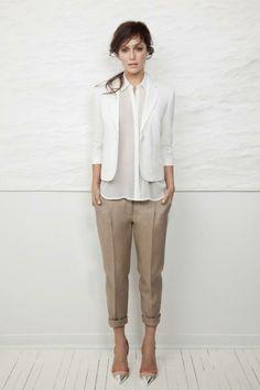 Crisp khakis with sheer white shirt + blazer