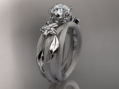 14kt  white gold diamond floralleaf and vine  by anjaysdesigns, $1100.00