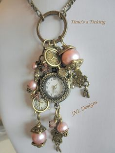 Romantic Vintage Looking Watch Charm Necklace with Powder Rose Pearls @Jess Pearl Pearl Liu Lingerfelt Designs - Jewelry on ArtFire