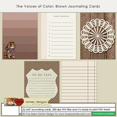 The Voices of Color - Brown Journaling Cards by Baers Garten Designs - Two Peas in a Bucket