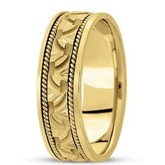 NEW LADIES 14k YELLOW GOLD WEDDING HAND CARVED LEAF BAND RING 7mm WIDE SIZE 7