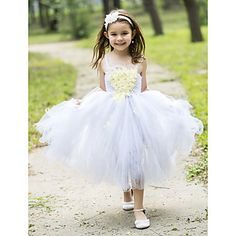Ball Gown Tea-length Flower Girl Dress - Rayon Spaghetti Straps with Appliques – USD $ 49.99
