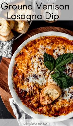This ground venison lasagna dip is a crowd-pleasing appetizer. Full of your favorite lasagna flavors; it's another easy ground venison recipe! Lasagna Dip, Ground Venison Recipes, Sausage Spaghetti, Deer Meat, Wild Game Recipes, Weekday Meals, Savory Snacks, Gluten Free Recipes