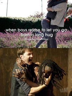 The Walking Dead. The Governor and Michonne for Things boys do we love - When boys refuse to let you go from a long hug. LOL! I know he was horrible but everytime I see this I can't stop laughing!