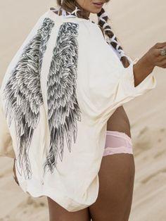 Beige Angel Wings Print Back Kimono