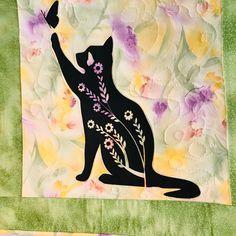 Watercolor Fabric, Watercolor Background, Watercolor Paintings, Bird Quilt, Cat Quilt, Hanging Towels, Hanging Art, Fiber Art Quilts, Cat Silhouette
