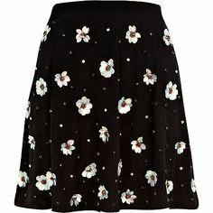 Black 3D sequin flower embellished skirt $50.00