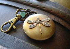 Steampunk Keychain or Purse Fob - Dragonfly Locket with Clasp - Hand Riveted