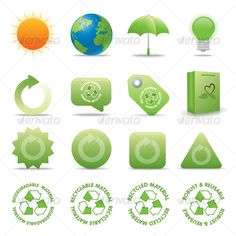 ECO VECTOR ICONS — Vector EPS #icons #vector • Available here → https://graphicriver.net/item/eco-vector-icons/49356?ref=pxcr