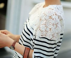 Lace and stripes fashion flowers pretty lace clothes shirt blouse