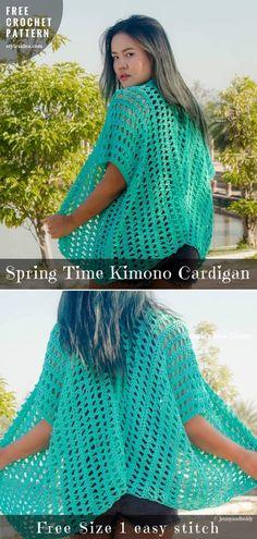 Free Crochet Pattern Spring Time #Kimono #Cardigan #CrochetCardigan Vest   free size   Written   US Terms Level: beginner hook: 6.0 mm (J) yarn: Lion brand 24/7 cotton. Springtime kimono belongs most shared and favorite crochet cardigans to make. #freecrochetpattern