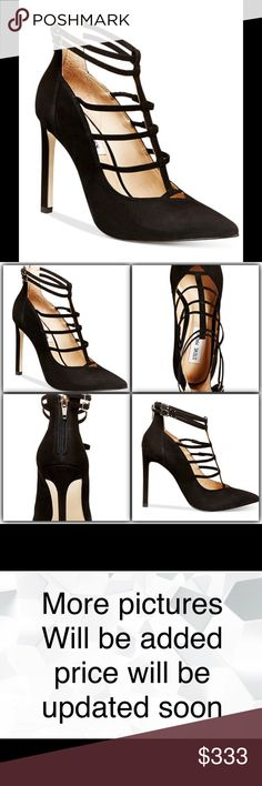 "Steve Madden Prazed Pump Black NIB Steve Madden Prazed Pumps Black NIB   ~ Nubuck Leather upper / Manmade sole ~ Pointed close toe t-strap pump ~ Zipper closer at back, buckle detail at double ankle strap ~ 4-1/4"" Stiletto heel  New in Box   No Trades No Holds Steve Madden Shoes Heels"