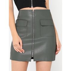 8baa4c6663 SheIn(sheinside) O-Ring Front Zipper Mini Skirt MINT ($19) ❤ liked on  Polyvore featuring skirts, mini skirts, pocket skirt, short leather skirt,  short mini ...