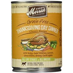 Merrick, Canned Dog Food, 5-Star Thanksgiving Day Dinner 13.2 oz. -- You can learn more by visiting the image link. (This is an affiliate link and I receive a commission for the sales)