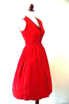 Vintage 1950s Cherry Red Corduroy Dress by RetroKittenVintage, $42.00