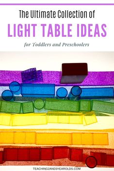 Looking for light table activities? Your toddlers and preschoolers will love this fun collection! Over 30 different ideas for the home or classroom that our children have loved. Preschool Lessons, Toddler Preschool, Toddler Classroom, Montessori Toddler, Preschool Science, Preschool Ideas, Pre K Activities, Hands On Activities, Sensory Activities