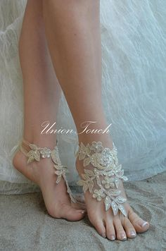 Champagne barefoot sandals french lace sandals wedding anklet Bare Foot Sandals, Beach Sandals, Sandals Wedding, French Lace, Anklet, Barefoot, Champagne, Weddings, Trending Outfits
