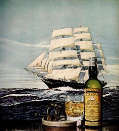 The illustration from a 1965 advertisement for Cutty Sark in Ebony.