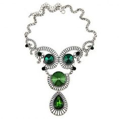 $7.26 Exquisite Colored Rhinestone Embellished Pendant Alloy Necklace For Women
