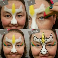 Fast and quick half face unicorn, easy for Pay Per Face events and quick designs!! #unicorn # fantasy #facepaint https://www.etsy.com/listing/289765881/face-painting-templates-girl-half-face