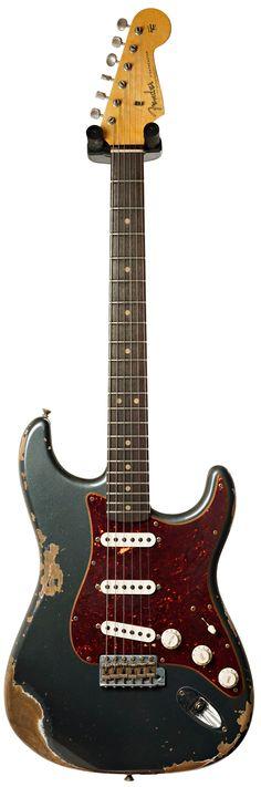 Fender Custom Shop 1962 Mid Boost Strat Heavy Relic Charcoal Frost Metallic Tortoise Pickguard #R88218 Main Product Image