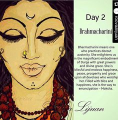 ✔️💯👉🏻The second form of Goddess Durga, Brahmacharini is a devoted student who lives in an ashrama with her Guru. The goddess Brahmacharini wears white clothes, holds a japamaala(rosary) in her right hand and kamandala, a water utensil in her left hand. Kali Goddess, Indian Goddess, Durga Maa, Shiva Shakti, Mantra, Durga Painting, Durga Images, Hindu Dharma, Hindu Festivals