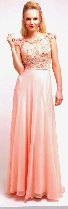 Prom Dresses<BR>Evening Dresses under $200<BR>8889<BR>Long blush gown fabric appliques over cap sleeves flowing full skirt
