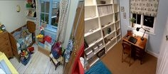Look at this amazing transformation: from a toy room to a modern day office! #HomeDecor #BeforeAndAfter #HomeOffice #HomeRenovations