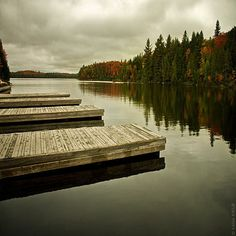 The docks at Canoe Lake in Algonquin park by the portage store where we went interior camping