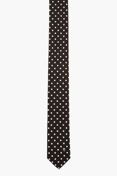 Alexander Mcqueen Black And White Polka Dot And Skull Tie