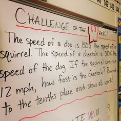 Math Challenge of the Week for sixth grade math students. Post the problem on Monday morning and students have until the end of the day Thursday to solve them. Go over problem on Friday. Math Teacher, School Classroom, Teaching Math, Classroom Ideas, Teaching Ideas, Teacher Stuff, Classroom Routines, School Craft, Classroom Rules