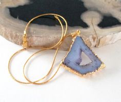 Druzy Geode Necklace  Orchid Purple Druzy Pendant  by BijiJewelry