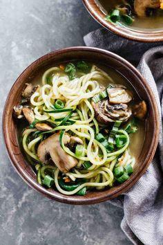 Vegan Ramen Soup w/ Zucchini Noodles! Gluten free and perfect for dinner!