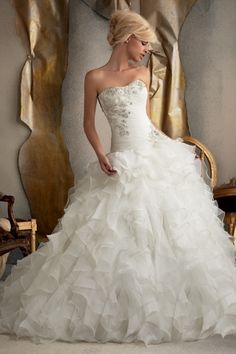 Shop 2013 Wedding Dresses A Line Sweetheart Sweep Brush Train Organza Applique Ruffles Online