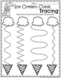 Preschool Tracing Worksheets in an Ice Cream Theme Preschool Learning Activities, Preschool Curriculum, Free Preschool, Preschool Crafts, Summer Preschool Themes, Vocabulary Activities, Spanish Activities, Teaching Spanish, Summer Activities For Preschoolers