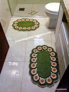 Jussara tapetes: Jogo de banheiro margaridas - T189