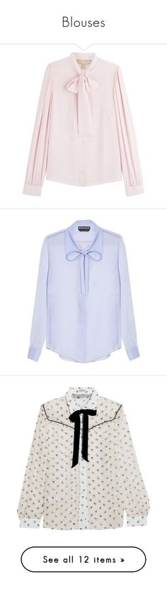 """""""Blouses"""" by alongcametwiggy ❤ liked on Polyvore featuring tops, blouses, shirts, pink, pink silk shirt, long sleeve shirts, bow blouse, slim fit shirts, long blouse and blue"""