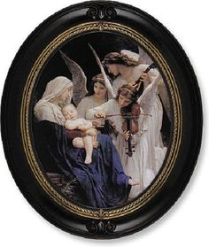 Madonna With Angels Print By Artist Bouguereau Oval Walnut Frame